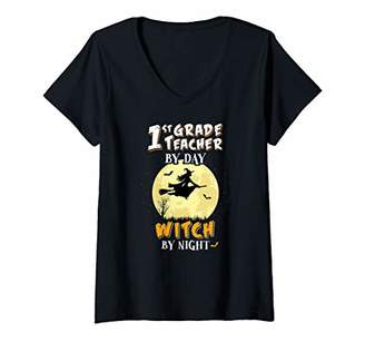 Womens 1st Grade Teacher By Day Witch By Night T Shirt First School V-Neck T-Shirt