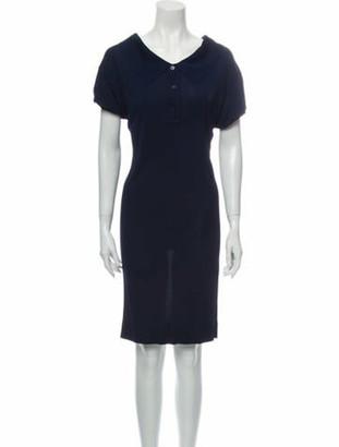Hermes V-Neck Knee-Length Dress Blue