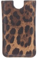 Dolce & Gabbana Leopard Print Leather Phone Holder w/ Tags
