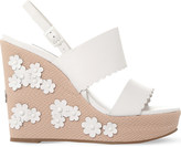 Dune Flower-embellished leather wedges