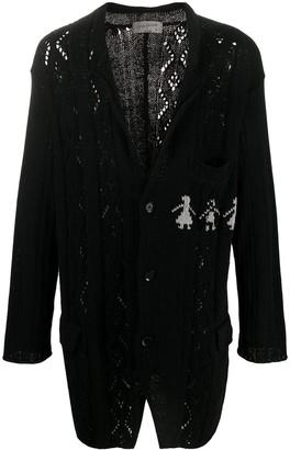 Yohji Yamamoto Longline Pointelle-Knit Cardigan