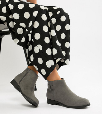 New Look Wide Fit flat ankle boot in gray