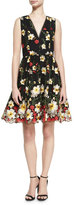 Alice + Olivia Becca V-Neck Midi Pouf Dress, Black Multi