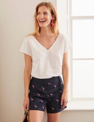 Flamingo Embroidered Shorts