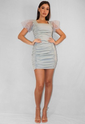 Missguided Light Blue Ruched Organza Sleeve Denim Dress