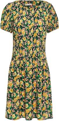 Maje Rockinie Floral-print Plisse-crepe Mini Dress