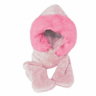 Jiegorge Hat Ladies Faux Fur Winter Warm Fluffy Hood Scarf Hat Snood Pocket Hats Gloves