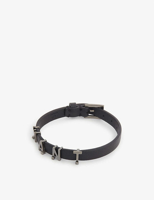 Valentino Logo-pendant leather bracelet