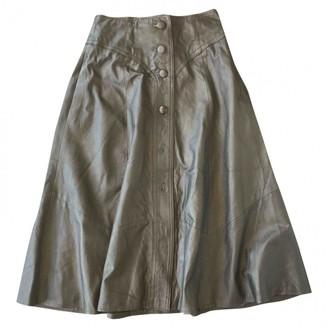 Barneys New York Black Leather Skirt for Women Vintage