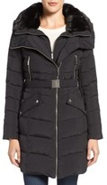 French Connection Women's Down Coat With Faux Fur Trim