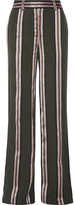ADAM by Adam Lippes Striped Satin-trimmed Twill Wide-leg Pants - Army green