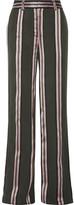 ADAM by Adam Lippes Striped Satin-trimmed Twill Wide-leg Pants - US2