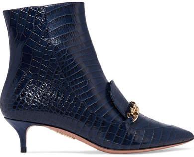 Aquazzura Editor Chain-trimmed Croc-effect Leather Ankle Boots - Indigo