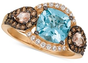 LeVian Le Vian Chocolatier Multi-Gemstone (2 ct. t.w.) & Diamond (1/2 ct. t.w.) Ring in 14k Rose Gold