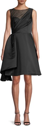 Theia Embellished Asymmetrical Cocktail Dress