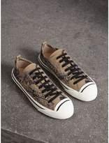 Burberry Doodle Print Cotton Gabardine Sneakers