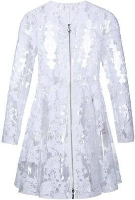 Moncler clear PU floral lace coat
