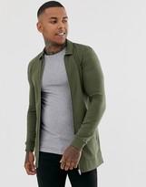 Asos Design DESIGN muscle longline jersey harrington jacket in khaki