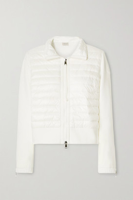 Moncler Quilted Shell And Cotton-blend Jersey Down Jacket - Ivory