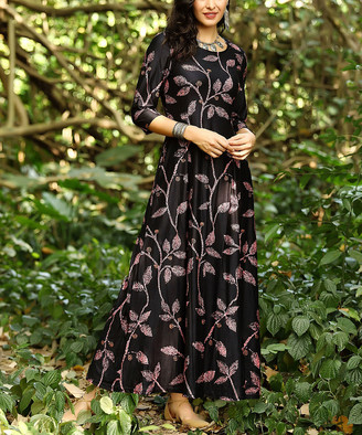 Reborn Collection Women's Maxi Dresses Charcoal - Charcoal & Black Floral Maxi Dress - Women & Plus