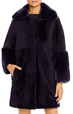 Maximilian Furs Rabbit Fur-Cuff Shearling Jacket - 100% Exclusive