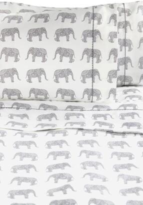 Melange Home Queen 400 Thread Count Cotton Elephants Sheet 4-Piece Set