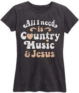 Instant Message Women's Women's Tee Shirts HEATHER - Heather Charcoal 'All I Need Is Country Music & Jesus' Relaxed-Fit Tee - Women