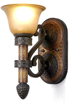Zhimei Traditional Uplighter Wall Light, E27, 60 W, Brown/Beige