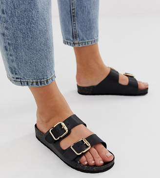 London Rebel wide fit Double buckle flat sandals