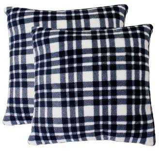 Mid-Century MODERN Decor Therapy 2pk Bright White Peacoat Navy Classic Plaid Fleece Pillow Navy - Décor Therapy