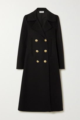 Loewe Double-breasted Wool And Cashmere-blend Coat - Black