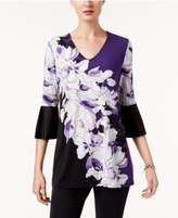Alfani Printed Pleated-Cuff Top, Created for Macy's