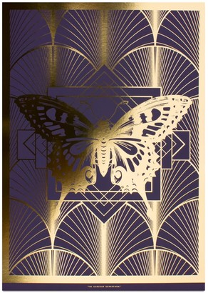 The Curious Department Deco Butterfly Gold & Purple Print