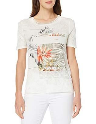 Gerry Weber Women's 170324-35134 T-Shirt, Multicolour (Ecru/Papaya/Grün Druck 95), (Size:36)