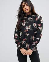 AX Paris Floral High Neck Top With Frill Sleeve