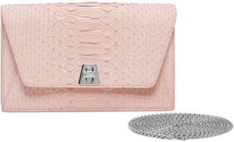 Akris Anouk Sueded Python Mini Clutch Bag, Light Pink