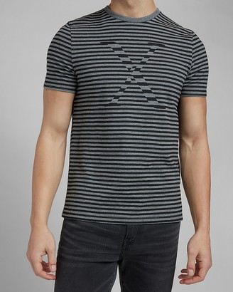 Express Gray Striped Logo Graphic T-Shirt