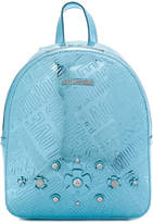Love Moschino logo embossed floral appliqué backpack