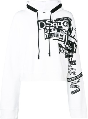 DSQUARED2 Logo Print Cropped Hoodie