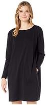 Eileen Fisher Organic Cotton Stretch Jersey Round Neck Dress (Black) Women's Clothing