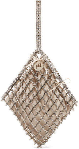Rosantica Honore Crystal-embellished Gold-tone And Velvet Tote