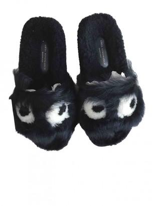 Anya Hindmarch Blue Shearling Sandals
