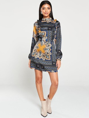 AX Paris Paisley Print Ruffled Shift Dress - Multi