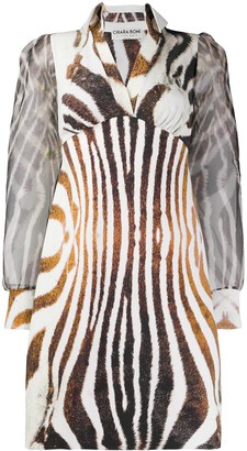 Alithia zebra-print open-collar mini dress