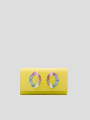 Perrin Paris La Croisette Leather Clutch with Swarovski Crystals