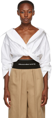 Alexander Wang White Twist Front Shirt