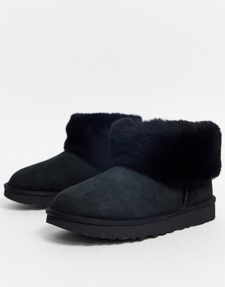 UGG Classic Mini Fluff ankle boots in black