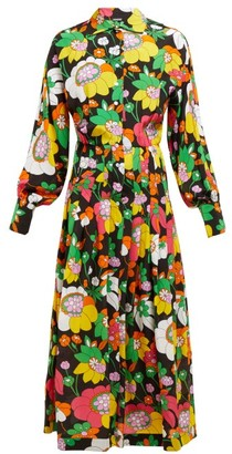 Dodo Bar Or Anabelle Floral-print Silk Midi Shirtdress - Black Multi