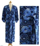 Men's Unique Robe from Indonesia, 'Blue Constellations'