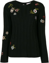RED Valentino embroidered ribbed jumper - women - Polyamide/Polyester/Viscose/Wool - S